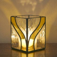Candle Holder - Stained Glass (G1275 - Yellow).  via Etsy.