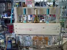 "Upcycled pallet wood ""Wine Rack with Stem Glasses"""
