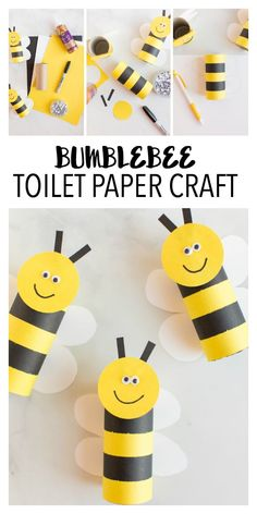Bumblebee Toilet Paper Craft for Kids is an easy springtime paper craft! Use Recycled Toilet Paper Rolls and Paper to make these cute bees!