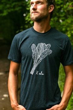 KALE Tshirt American Apparel Unisex - poly cotton blend/ Aqua Black - clothing - yoga tshirts - Kale plant - Mens tshirt - Womens tshirt