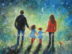 Mom Dad Son Daughter Art Print evening walk father mother brother little sisterboy girl starry night blue wall art Vickie Wade Family Drawing, Family Painting, Dad Son, Mom And Dad, Brother Sister, Art Mural, Wall Art, Little Blonde Girl, Sisters Art