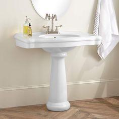 "Carden Porcelain Pedestal Sink Length: 34-1/2"" Width: 22-3/8"" Height: 32-1/4"""