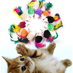 Alamana 10Pcs/Lot Cat Funny Colorful Feather Faux Fleece False Mouse Mice Playing Toys ** To view further for this item, visit the image link. (This is an affiliate link) #Cats