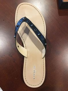 21ff05477898 COACH Cottage Soft Veg BLACK Leather Thong Sandal Flip Flop Size 11M   fashion  clothing