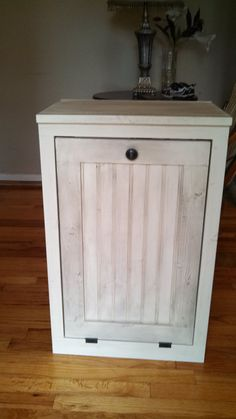 Wooden Hand Made Trash Bin Cabinet Rustic Farm Style Furniture