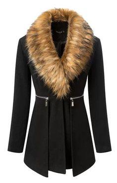 Black Casual Coat With Fur Collar: