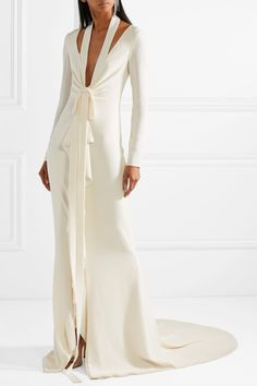 Oscar de la Renta | Cutout ruffled crepe gown | NET-A-PORTER.COM
