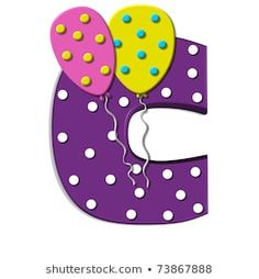"""Benzer B, in the alphabet set """"Balloon Spots"""", is decorated with polka dotted balloons in multi-colors. Letter is purple with white polka dots. Görselleri, Stok Fotoğrafları ve Vektörleri - 73867891 Polka Dot Balloons, Polka Dots, Chuck Wagon, Kids Corner, Unique Recipes, Royalty Free Stock Photos, Happy Birthday, Symbols, Letters"""