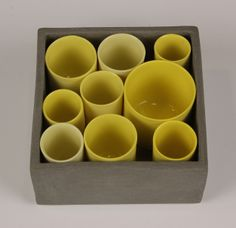 Tray with Cylinders by Derek Wilson on the Craft Potters Association | CPA Auction Website 10 x 10 x 5cm high.
