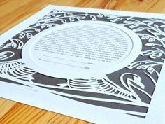 Paper Cut Ketubah - Swans