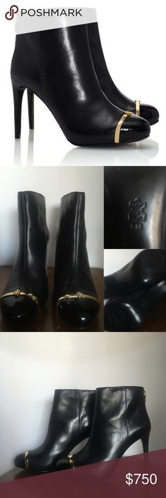Tory Burch Leather Booties Tory Burch Black Leather Booties / Heel   Worn ONLY 2x . Good Condition 9/10 • I do not have the shoe box anymore Tory Burch Shoes Ankle Boots & Booties