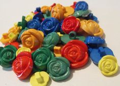 15 Primary Rose Buttons by AJStuff on Etsy, $2.25