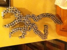 I think I could make this, Browning Deer art out of shotgun shells, for Brads hunting themed man cave! Shotgun Shell Art, Shotgun Shell Crafts, Shotgun Shells, Shotgun Shell Lights, Hunting Themes, Hunting Crafts, Hunting Gear, Deer Hunting, Craft Projects