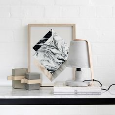 The Oliver concrete table lamp pictured here with our concrete and leather pots and Kristina Krogh Print. Online Furniture, Home Decor Accessories, Scandinavian Design, Concrete Table, Blush Pink, Candle Holders, Table Lamp, Handmade, Inspiration