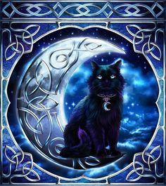 ☆ Celtic Pagan Wiccan Midnight Moon Black Cat :→: Artist Brigid Ashwood ☆ I'd use that background for a similar tattoo design I Love Cats, Crazy Cats, Cute Cats, Magic Cat, Witch Cat, Photo Chat, Celtic Art, Halloween Cat, Cat Drawing