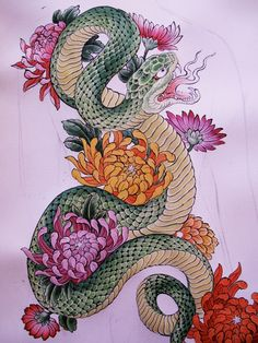 I love the flowers, but not the snake!  Maybe with a blank panther instead??