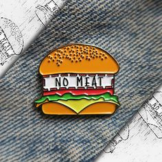 Show the world how you're proud to be meat free! This Pin is perfect for any vegans/veggies out there! -25mm wide -Metal Clasp Backing -No Meat writing Please message me if you require faster shipping Thank you for checking out my shop and products :)