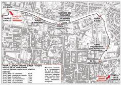 Mappa percorso Mura di Pisa apertura straordinaria