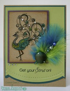 Card created by Pinquette Donna K using Pinque Peacock April  Release Bead Stick Pin and Fabric Button