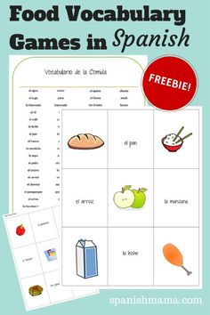 Food Vocabulary Games free printable! Include word and image cards for 36 food terms, perfect for playing games like Go Fish, Concentration, Slap-it and more. Teach vocabulary through images, not English-Spanish translation.