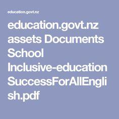 education.govt.nz assets Documents School Inclusive-education SuccessForAllEnglish.pdf Inclusive Education, Education Policy, Document