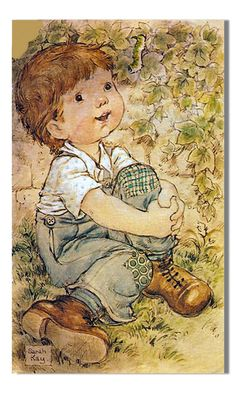 Sarah Kay - Love this! It reminds me of my son when he was little, and my grandson now. by imelda Sarah Key, Holly Hobbie, Susan Wheeler, Mo Manning, Vintage Drawing, Australian Artists, Cute Illustration, Fabric Painting, Vintage Children