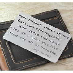 Alloy Wallet Insert Card any words by Handmadenamenecklace on Etsy