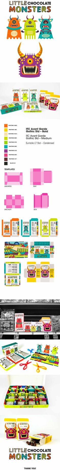 Project done for Intro to Packaging Class at The Art Institute of California - San Francisco.LITTLE CHOCOLATE MONSTERS brand identity is created to be enjoyed by children and adults who are kids at heart. Quirky characters and handmade logotype brings e… Kids Packaging, Candy Packaging, Beauty Packaging, Corporate Design, Branding Design, Kid Drinks, Monster Design, Behance, Heart For Kids