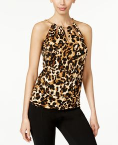 Thalia Sodi Printed Chain-Neck Cutout Halter Top, Only at Macy's