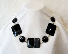 Black Agate Necklace Chunky Statement Necklace by BellaDivaBeads