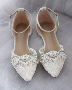 WHITE CROCHET LACE Pointy toe flats with Pearls Applique , Women Wedding Shoes, Bridesmaid Shoes Pearls and rhinestones applique laid across topline of crochet lace pointy toe flats with ankle strap. Lace Wedding Flats, Wedding Sandals For Bride, Flat Bridal Shoes, Vintage Wedding Shoes, Wedding White, Low Heel Wedding Shoes, Blush Bridal Shoes, Comfy Wedding Shoes, Winter Wedding Shoes