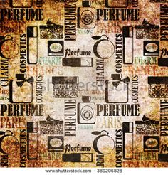 Grunge vintage pattern with gifts of perfume and cosmetics retro background   - stock photo