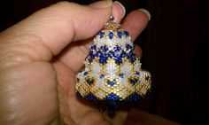 Blue Beaded Crystal Christmas Bell Ornament by seesbeyond on Etsy, $25.00