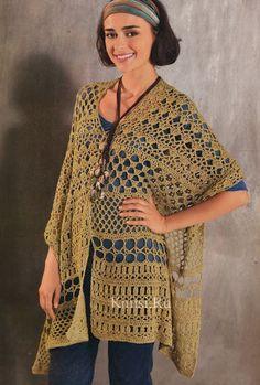Patrón #799: Poncho a Crochet