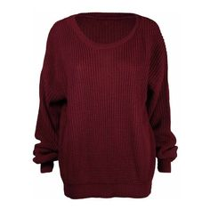 Ladies New Plain Chunky Knit Loose Baggy Oversized Jumper Tops Womens... ($2.88) ❤ liked on Polyvore featuring tops, sweaters, red oversized sweater, loose fit sweater, red top, long sleeve jumper and baggy jumpers