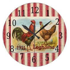 French Country Rooster, Hen Print Clock