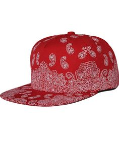 SSLR Men's Paisley Printed Snapback Baseball Caps (One Size (7 1/8 - 7 1/4), Red) Red Bandana Shoes, Bandana Outfit, Bandana Tattoo, Bandana Print, Bandana Blanket, Broken Tattoo, Bandana Crafts, Supreme Hat, Dope Hats