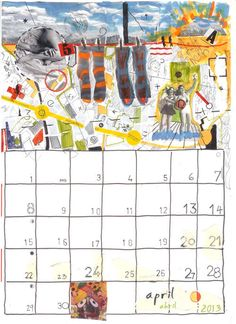 Wall calendar 2013 collage handmade by PrintPossessed on Etsy, $20.00