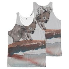 Watercolor Koala Shirt All-Over Print Tank Top from original painting by artist Avonelle Kelsey