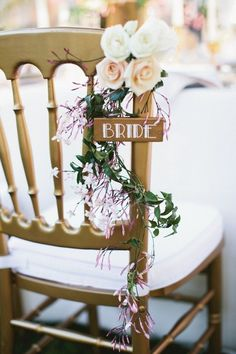 20 Fabulous Decor Ideas for an Art Deco Wedding Tie flowers and foliage to all the chairs. Art Deco Wedding, Chic Wedding, Floral Wedding, Rustic Wedding, Dream Wedding, Wedding Day, Wedding Signs, Wedding Chair Decorations, Wedding Chairs