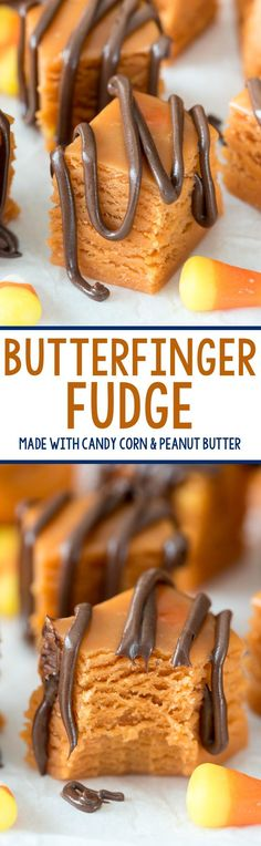 Fudge This easy Butterfinger Fudge tastes just like the candy bar and it's made with candy corn!This easy Butterfinger Fudge tastes just like the candy bar and it's made with candy corn! Köstliche Desserts, Delicious Desserts, Dessert Recipes, Yummy Food, Fudge Recipes, Candy Recipes, Bar Recipes, Sweet Recipes, Recipies