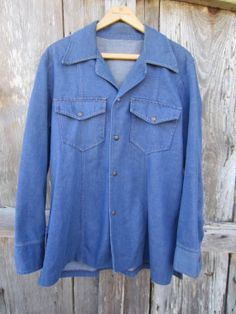 70s Blue Denim Jacket, Men's M-L Women's L-XL // Vintage Single-Breasted Blazer Blue Denim Jacket Mens, Denim Button Up, Button Up Shirts, Single Breasted, Blazer, Trending Outfits, Lady, Jackets, Vintage