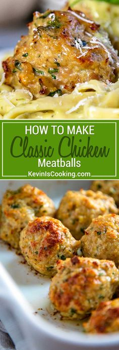 For me Classic Chicken Meatballs need to be moist flavorful and not too dense. In these roasted chicken meatballs I keep the ingredients few just enough to hold the chicken mixture together and the herbs and spices of parsley fennel and celery salt light. Chicken Meatball Recipes, Ground Chicken Recipes, Turkey Recipes, Dinner Recipes, Meat Recipes, Chicken Meatballs Recipe Easy, Recipies, Ground Chicken Meatballs, Cooking Recipes