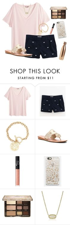 """RTD"" by morganmestan ❤ liked on Polyvore featuring H&M, Vineyard Vines, Jack Rogers, NARS Cosmetics, Casetify, Too Faced Cosmetics, Kendra Scott and S'well"