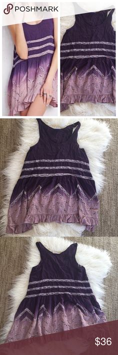 """Intimately Free People trapeze purple ombré dress Intimately Free People trapeze purple pink ombré polkadot lace dress. Nice light flowy material.  Lace detail everywhere and ruffles at the bottom.  Size XS. Can be worn as a dress or tank depending on your size.  No material tag but is soft like a cotton blend.  Approximate measurements 17"""" armpit to armpit, 26"""" length.  EUC. Free People Dresses"""