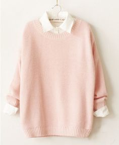 Round Neckline Candy Color Pullover - Clothing
