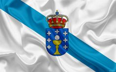 Download wallpapers Flag of Galicia, autonomous community, province, Spain, silk flag, Galicia coat of arms