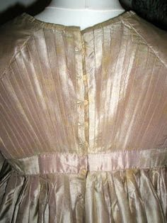 1815, pale coffee silk, cream trim - back buttons & pleating
