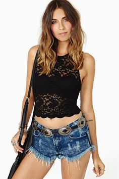 Camille Lace Crop Top in Black