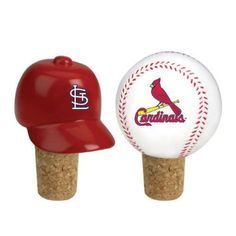 "MLB St. Louis Cardinals Wine Bottle Cork Stopper Set. St. Louis Cardinals 2-Piece Bottle Cork Set Item #05365 Officially licensed merchandise Set includes 2 stoppers - one featuring a replica of your favorite team's official cap, and the other features a baseball with the team logo Dimensions: 2.25""H Material(s): cork/resin...practical!"